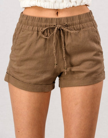 CHLOE LIGHTWEIGHT SMOCKED WAISTBAND LINEN SHORTS IN MOCHA-Shorts-MODE-Couture-Boutique-Womens-Clothing