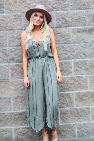ASHLEY STRIPE PRINTED JUMPSUIT IN OLIVE-Rompers-MODE-Couture-Boutique-Womens-Clothing