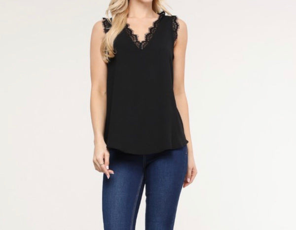 FALLING FAST LACE DETAIL TANK TOP BLOUSE IN BLACK-Tops-MODE-Couture-Boutique-Womens-Clothing