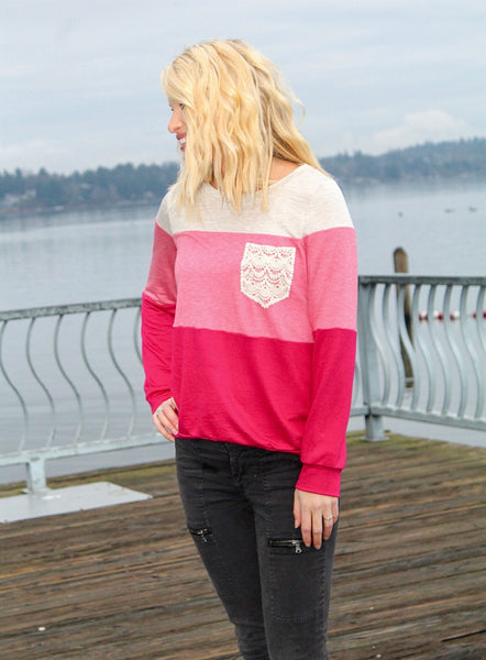 ALL ABOUT THAT LACE PULLOVER SWEATER IN PINK-Sweaters-MODE-Couture-Boutique-Womens-Clothing