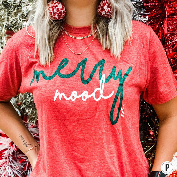 MERRY MOOD HOLIDAY GRAPHIC TEE IN RED-Graphic Tees-MODE-Couture-Boutique-Womens-Clothing