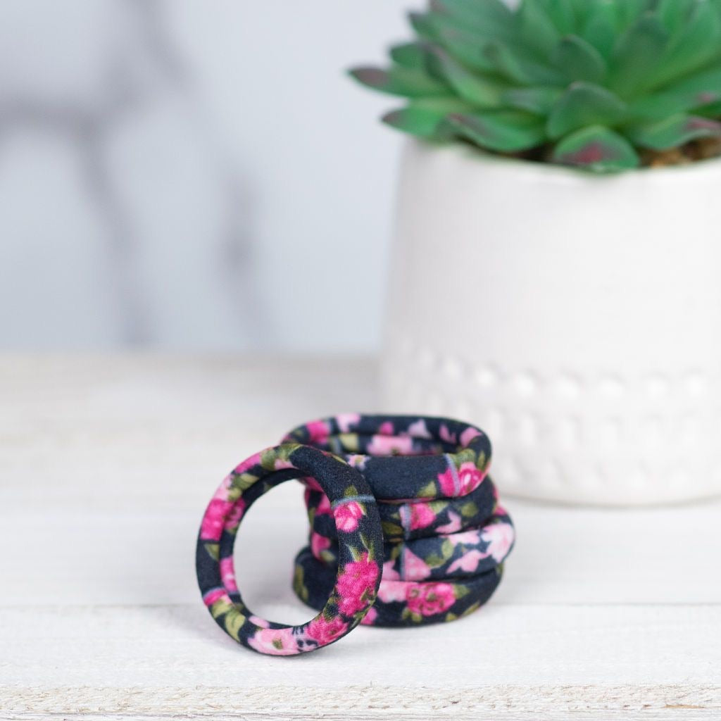 SOFTIE FABRIC HAIR TIES IN BLACK FLORAL-MODE-Couture-Boutique-Womens-Clothing