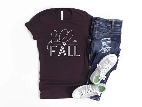 HELLO FALL GRAPHIC TEE IN OXBLOOD BLACK-Graphic Tees-MODE-Couture-Boutique-Womens-Clothing
