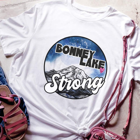 BONNEY LAKE STRONG UNISEX TEE WITH HEART IN WHITE (PRE-ORDER)-FUNDRAISER TEES-MODE-Couture-Boutique-Womens-Clothing