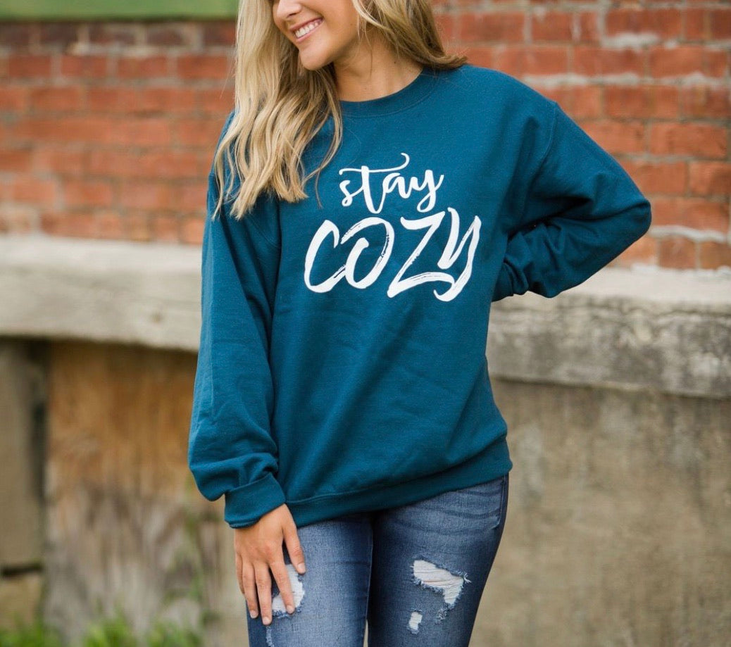 STAY COZY CREWNECK PULLOVER SWEATSHIRT IN TEAL-Graphic Sweatshirt-MODE-Couture-Boutique-Womens-Clothing