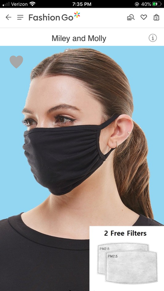 SOLID ADULT FACE MASK IN BLACK (TWO PM 2.5 FILTERS)-FACE MASKS-MODE-Couture-Boutique-Womens-Clothing