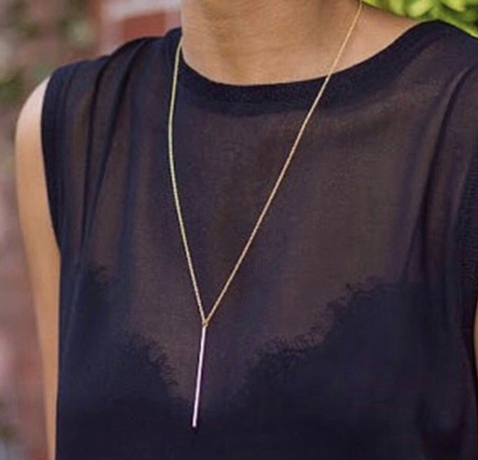 ANDIE LONG BAR PENDANT NECKLACE IN GOLD-JEWELRY-MODE-Couture-Boutique-Womens-Clothing
