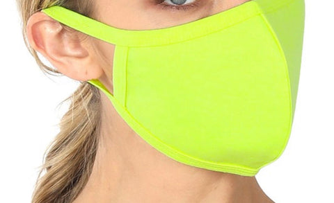 SOLID ADULT FACE MASK IN NEON LIME-FACE MASKS-MODE-Couture-Boutique-Womens-Clothing