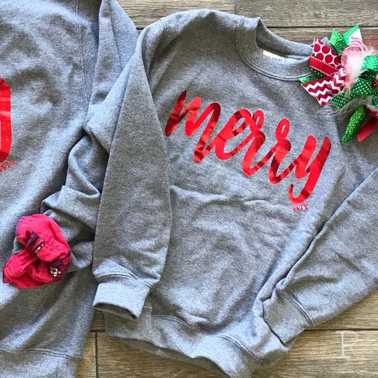 MOM & ME MERRY MOOD HOLIDAY GRAPHIC CREW NECK SWEATSHIRT IN GRAY-Graphic Tees-MODE-Couture-Boutique-Womens-Clothing