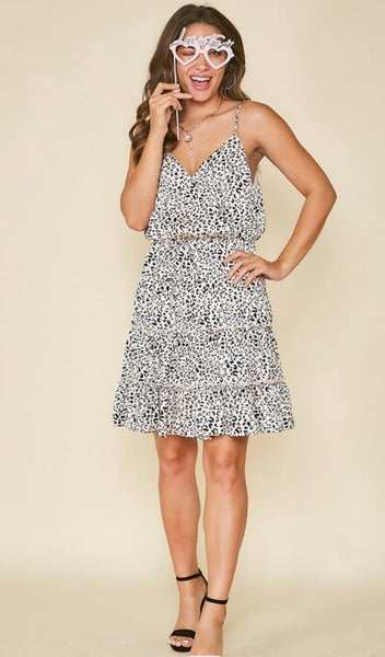ESME LEOPARD PRINT WOVEN DRESS IN CREAM-MODE-Couture-Boutique-Womens-Clothing