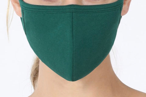 SOLID ADULT FACE MASK IN HUNTER GREEN-FACE MASKS-MODE-Couture-Boutique-Womens-Clothing