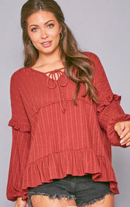 CAMILLA LONG SLEEVE RIB KNIT RUFFLED SLEEVE IN CRIMSON-Tops-MODE-Couture-Boutique-Womens-Clothing