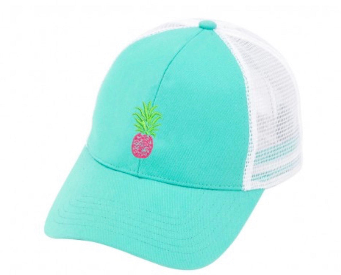 PINEAPPLE TRUCKER HAT IN MINT-Hats-MODE-Couture-Boutique-Womens-Clothing