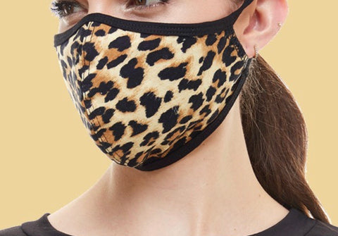 LEOPARD PRINT ADULT FACE MASK IN CAMEL