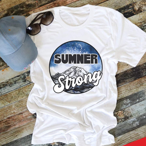 SUMNER STRONG UNISEX TEE WITHOUT HEART IN WHITE (PRE-ORDER)-FUNDRAISER TEES-MODE-Couture-Boutique-Womens-Clothing