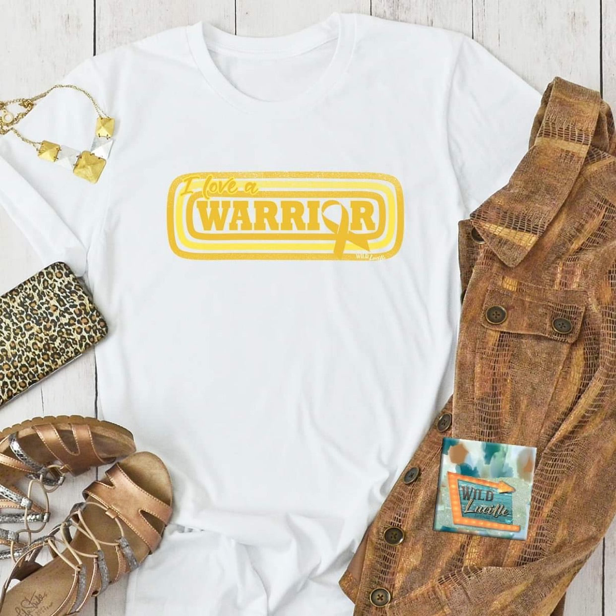 I LOVE A WARRIOR CHILDHOOD CANCER RIBBON UNISEX SHORT SLEEVE TEE IN WHITE-Tops-MODE-Couture-Boutique-Womens-Clothing
