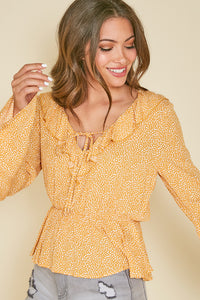 CALI CRUSH BELL SLEEVE TOP IN YELLOW-Tops-MODE-Couture-Boutique-Womens-Clothing