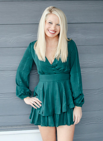 PRETTY LITTLE THING ROMPER IN HUNTER GREEN-Rompers-MODE-Couture-Boutique-Womens-Clothing