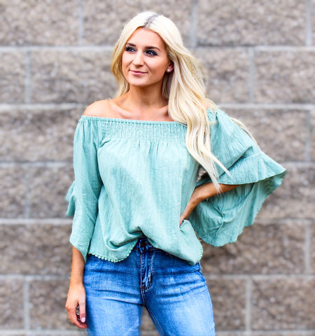 MEXICO ON MY MIND OFF SHOULDER TOP IN MINT-Tops-MODE-Couture-Boutique-Womens-Clothing