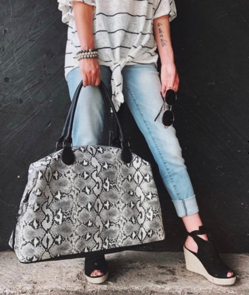 SINGLE IN SCOTTSDALE SNAKESKIN WEEKENDER IN BLACK-Accessories-MODE-Couture-Boutique-Womens-Clothing