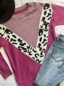 LOLA LEOPARD V SWEATER IN PINK-Sweaters-MODE-Couture-Boutique-Womens-Clothing