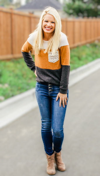 ALL ABOUT THAT LACE PULLOVER SWEATER IN MUSTARD COMBO-Sweaters-MODE-Couture-Boutique-Womens-Clothing