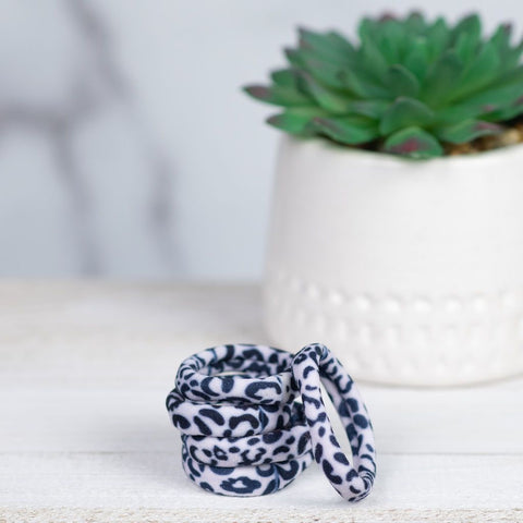 SOFTIE FABRIC HAIR TIES IN SNOW LEOPARD-MODE-Couture-Boutique-Womens-Clothing