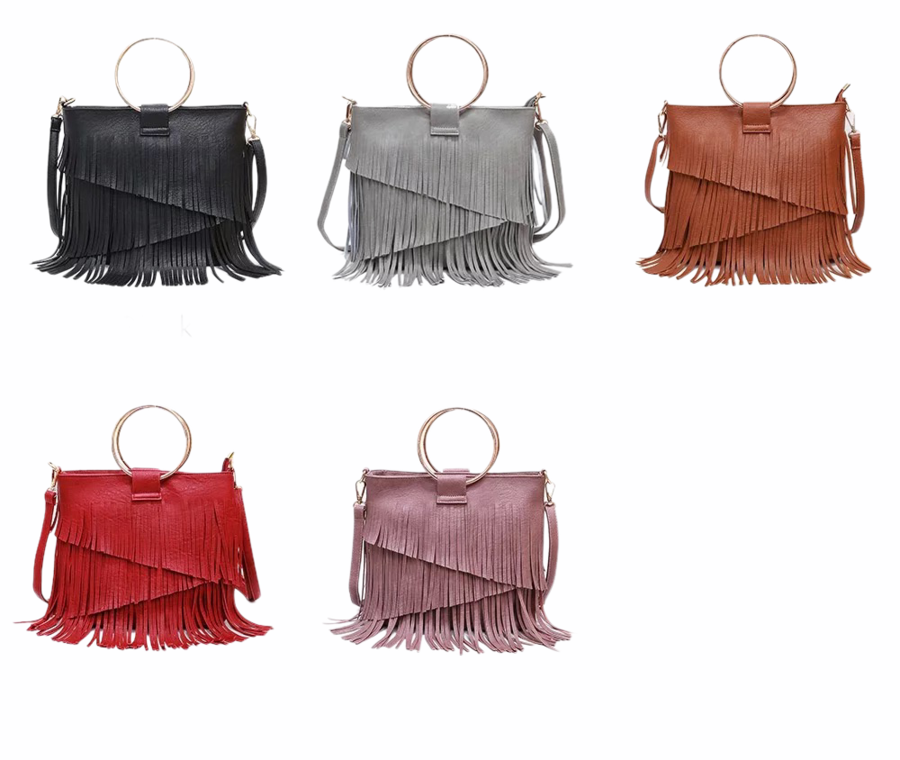 SASHA FRINGE LEATHER BAG IN RED-Purses-MODE-Couture-Boutique-Womens-Clothing