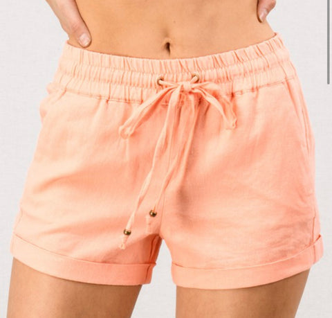 CHLOE LIGHTWEIGHT SMOCKED WAISTBAND LINEN SHORTS IN LIGHT CORAL-SHORTS-MODE-Couture-Boutique-Womens-Clothing