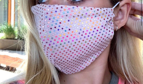 SEQUIN ADULT FACE MASK IN ROSE GOLD-FACE MASKS-MODE-Couture-Boutique-Womens-Clothing