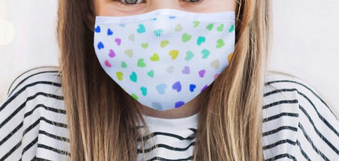 MULTI COLOR HEARTS ANTIMICROBIAL KIDS FACE MASK-FACE MASKS-MODE-Couture-Boutique-Womens-Clothing