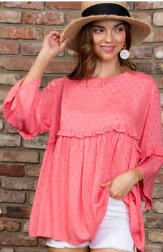 DAY DRINKING IN TUSCANY ROUND NECK BABY DOLL TOP IN CORAL