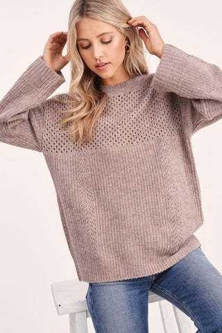 COFFEE AT THE LODGE PULLOVER SWEATER IN MOCHA-Sweaters-MODE-Couture-Boutique-Womens-Clothing