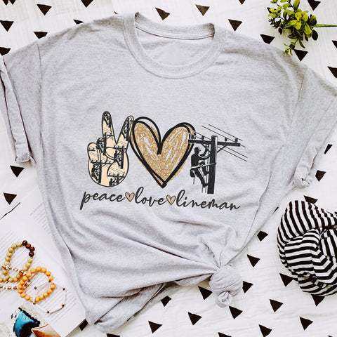 PEACE LOVE LINEMAN UNISEX TEE IN HEATHER GRAY (PRE-ORDER)-FUNDRAISER TEES-MODE-Couture-Boutique-Womens-Clothing