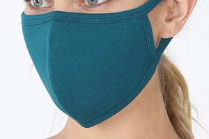 SOLID ADULT FACE MASK IN TEAL-FACE MASKS-MODE-Couture-Boutique-Womens-Clothing