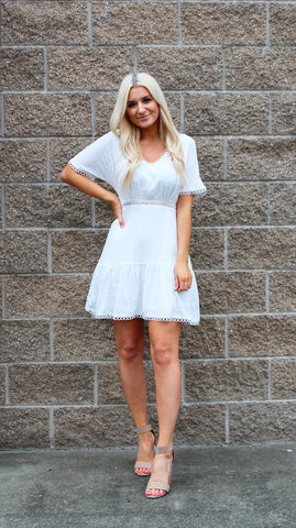 I DO NOW AND FOREVER WOVEN SHORT SLEEVE DRESS IN WHITE-Dresses-MODE-Couture-Boutique-Womens-Clothing