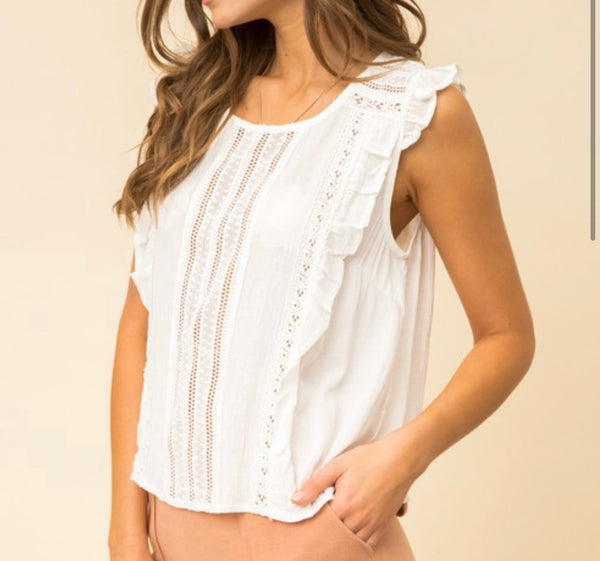 BRUNCH BABE RUFFLE LACE SHORT SLEEVE BLOUSE IN IVORY-Tops-MODE-Couture-Boutique-Womens-Clothing
