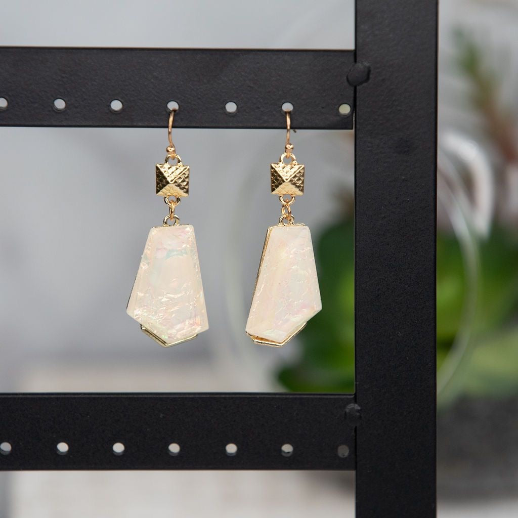 AYLA ASYMMETRICAL SHELL EARRINGS IN IVORY-JEWELRY-MODE-Couture-Boutique-Womens-Clothing