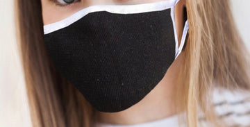 BLACK WITH WHITE TRIM ANTIMICROBIAL KIDS FACE MASK
