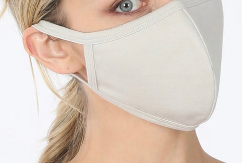SOLID ADULT FACE MASK IN BONE-FACE MASKS-MODE-Couture-Boutique-Womens-Clothing