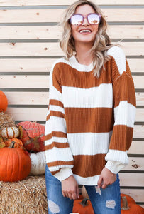 PUMPKIN SPICE AND EVERYTHING NICE STRIPED KNIT SWEATER IN CARAMEL COMBO-Sweaters-MODE-Couture-Boutique-Womens-Clothing