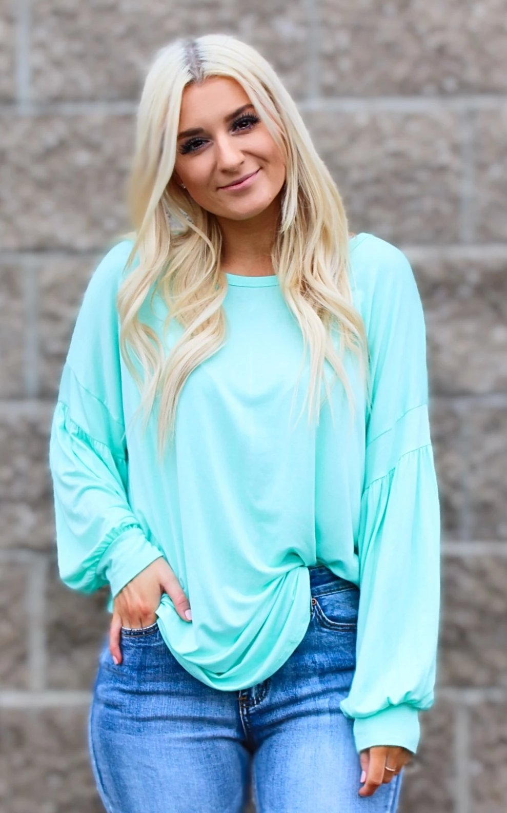 ELSA PUFF SLEEVE TUNIC TOP IN SEAFOAM-Tops-MODE-Couture-Boutique-Womens-Clothing