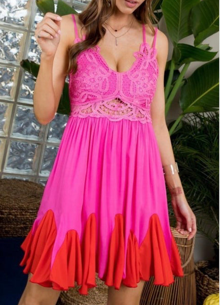 ON ISLAND TIME LACE BACK CROSS SPAGHETTI STRAP DRESS IN PINK-Dresses-MODE-Couture-Boutique-Womens-Clothing