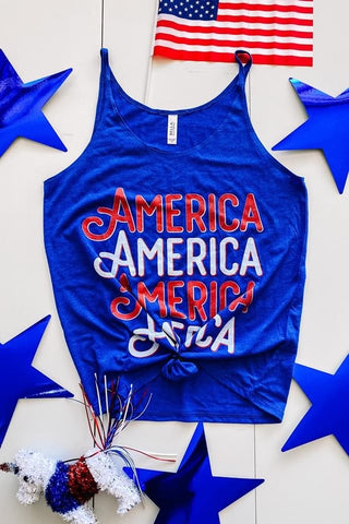 AMERICA THIN STRAP TANK IN ROYAL BLUE-Tops-MODE-Couture-Boutique-Womens-Clothing