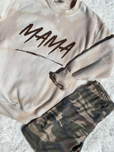 MAMA ACID WASH SWEATSHIRT IN TAN-Sweatshirt-MODE-Couture-Boutique-Womens-Clothing