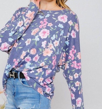 BRILLIANCE IN BLOOMS LONG SLEEVE TWIST BACK TOP IN NAVY COMBO