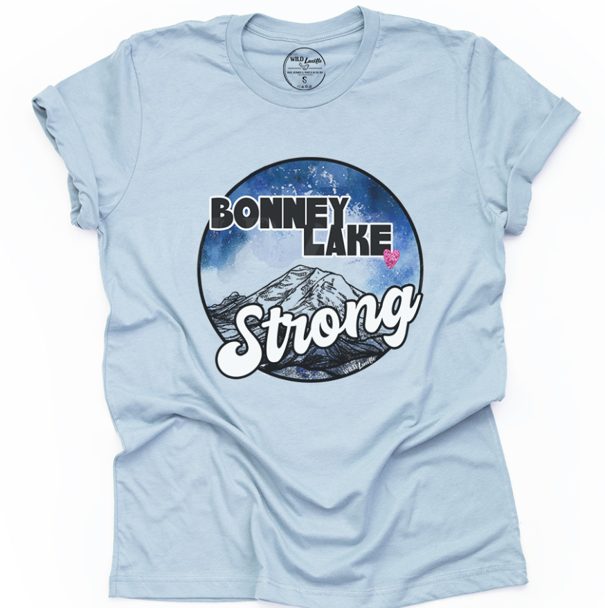 BONNEY LAKE STRONG UNISEX TEE WITH HEART IN LIGHT BLUE (PRE-ORDER)-FUNDRAISER TEES-MODE-Couture-Boutique-Womens-Clothing
