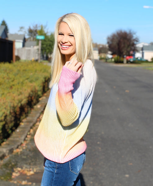 LIGHT OF DAY KNIT SWEATER IN PINK COMBO-Sweaters-MODE-Couture-Boutique-Womens-Clothing