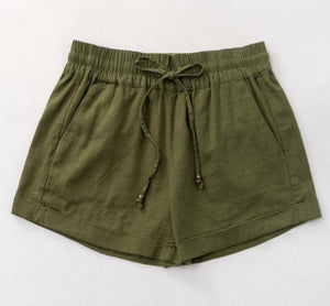 CHLOE LIGHTWEIGHT SMOCKED WAISTBAND LINEN SHORTS IN OLIVE-SHORTS-MODE-Couture-Boutique-Womens-Clothing