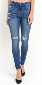 JUST USA HIGH-RISE DISTRESSED JEANS IN CAROLINE WASH-Jeans-MODE-Couture-Boutique-Womens-Clothing